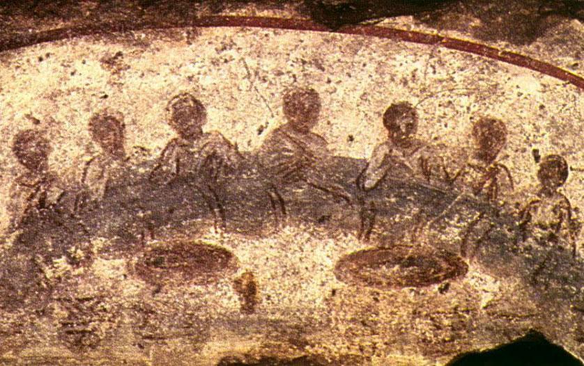 La Cena in un affresco nelle catacombe di S. Callisto in Roma
