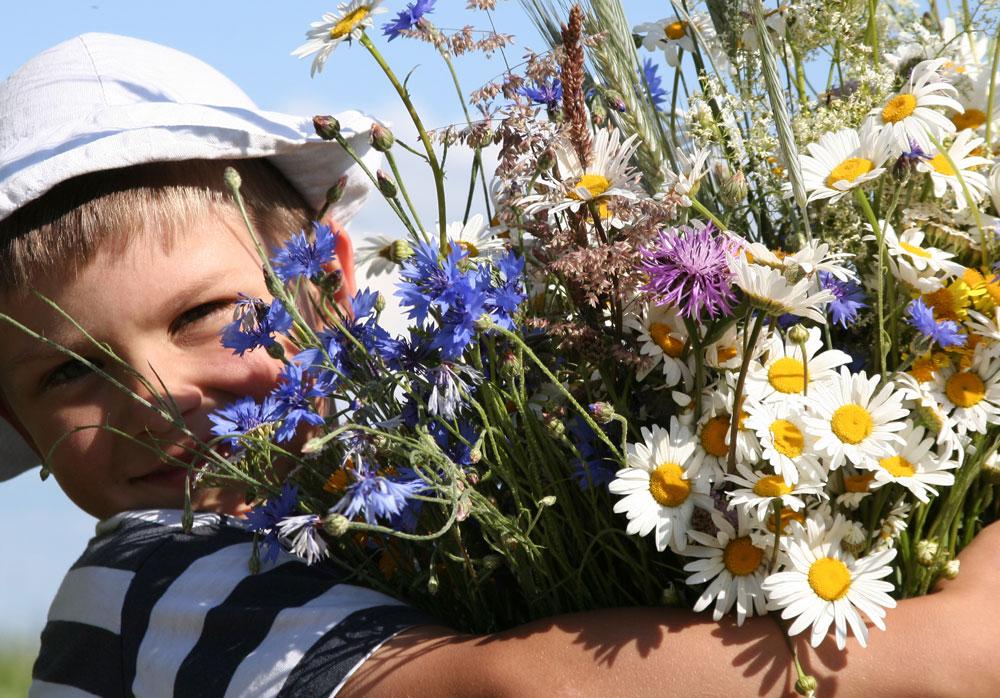 Bambino con mazzo di fiori di campo