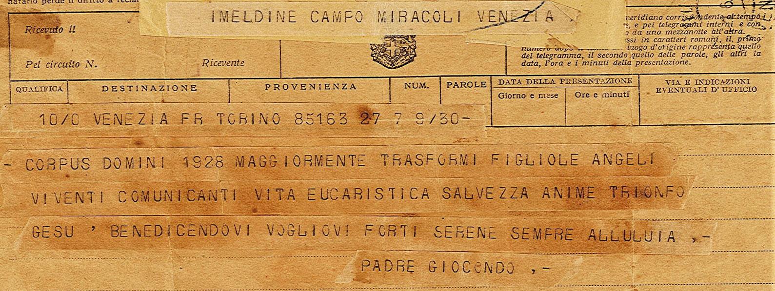 Telegramma Giocondo Lorgna